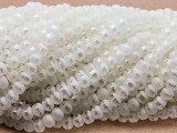 White Metallic Stripe Crystal Glass Beads 6mm (CRY488)