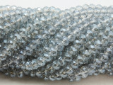 Transparent Pale Silver Crystal Glass Beads 6mm (CRY502)