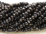 Silver & Black Crystal Glass Beads 6mm (CRY508)
