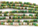 "Green Multi-Color Glass Beads - 44"" strand (JV9067)"