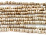 """White Antiqued Glass Beads - 44"""" strand (JV9070)"""
