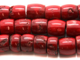 Red Bamboo Coral Irregular Barrel Beads 16-20mm (CO560)
