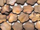Brown Flower Tabular Shell Beads 25mm (SH565)