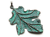 Copper (Oxidized) Leaf Pendant 70mm (ME466)