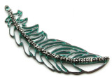 Copper (Oxidized) Feather Outline Pendant without Bail 72mm (ME467)