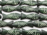 Dark Green Fish Carved Bone Beads 45mm (B1308)