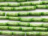 Lime Green Tube Carved Bone Beads 22mm (B1322)