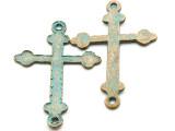 Oxidized Brass Cross - Pewter Pendant 60mm (PW923)
