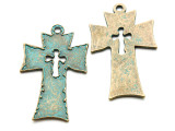 Oxidized Brass Cross- Pewter Pendant 58mm (PW931)