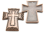 Copper Chevron Cross - Pewter Pendant 50mm (PW939)