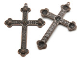 Copper Ornate Cross - Pewter Pendant 80mm (PW941)