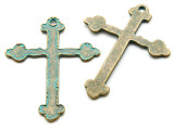 Oxidized Brass Cross - Pewter Pendant 59mm (PW943)
