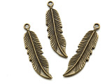 Brass Tall Feather - Pewter Pendant 45mm (PW948)