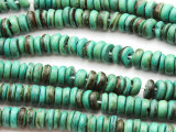 Turquoise Coconut Wood Rondelle Beads 8mm - Indonesia (WD964)