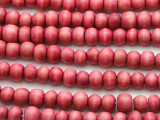 Pink Round Wood Beads 6-7mm - Indonesia (WD973)