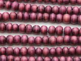 Purple Round Wood Beads 6-7mm - Indonesia (WD975)