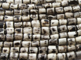 Batik Bone Beads, White Cylinder 7-12mm - Kenya (BA7029)