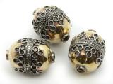 Afghan Tribal Bead - Silver & Brass Egg 28mm (AF654)