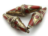 Afghan Tribal Bead - Brass & Red Bicone 52mm (AF658)