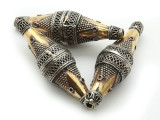 Afghan Tribal Bead - Silver & Brass Bicone 50mm (AF659)
