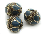 Afghan Tribal Bead - Brass & Blue Round 22-26mm (AF667)