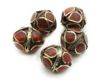 Afghan Tribal Bead - Brass & Red Egg 16-18mm (AF673)