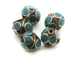 Afghan Tribal Bead - Brass & Teal Egg 16-18mm (AF675)