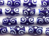 Navy Blue & White Swirl Glass Beads 20mm (JV1195)