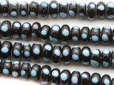 Black w/Blue Dots Rondelle Glass Beads 8-9mm (JV1207)