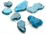 Blue Agate Slab Gemstone Beads 28-55mm (AS965)