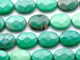 Chrysoprase Faceted Oval Tabular Gemstone Beads 20mm (GS4556)