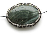 Green Jasper Lg Focal Bead w/Rhinestones 40mm (GSP2106)