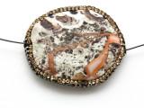 Mushroom Rhyolite Lg Focal Bead w/Rhinestones 45mm (GSP2113)
