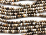 African Silver Leaf Jasper Rondelle Gemstone Beads 5mm (GS4569)