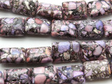Purple Mosaic Magnesite Pillow Gemstone Beads 18mm (GS4575)