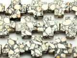White Mosaic Magnesite Cross Gemstone Beads 25mm (GS4576)