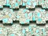 Turquoise & White Mosaic Magnesite Cross Gemstone Beads 30mm (GS4578)