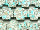 Turquoise & White Mosaic Magnesite Cross Gemstone Beads 30mm (GS4578)