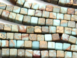 Aqua Terra Jasper Cube Gemstone Beads 8mm (GS4582)