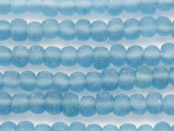 Light Blue Rondelle Recycled Glass Beads 6-10mm - Indonesia (RG623)