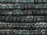Frosty Gray Rondelle Recycled Glass Beads 6-10mm - Indonesia (RG625)