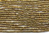 "Metallic Brass Glass Beads - 44"" strand (JV9081)"