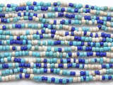 "Blue Multi-Color Glass Beads - 44"" strand (JV9084)"