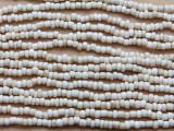 "Bone White Glass Beads - 44"" strand (JV9086)"
