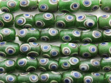 Green w/Dots Barrel Glass Beads 12-15mm (JV1233)