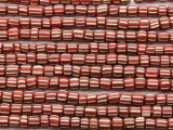 Brick Red w/White Stripes Irregular Cylinder Glass Beads 4-6mm (JV1246)