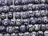 Blue w/Chain Design Round Glass Beads 11-12mm (JV1248)