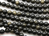 Gold Sheen Obsidian Round Gemstone Beads 8mm (GS4619)