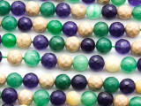 Multi-Color Quartz Faceted Round Gemstone Beads 8mm (GS4636)