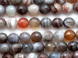 Botswana Agate Faceted Round Gemstone Beads 8mm (GS4646)